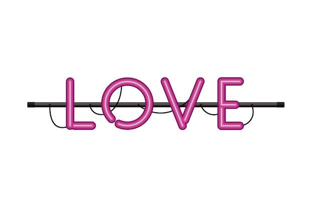 Love label in neon light isolated icon