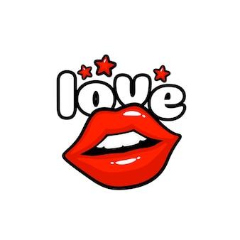 ラベルステッカーが大好きです。メッセージのキス。赤い唇。ベクトルイラスト