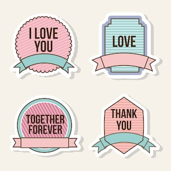 Love labels over beige background vector illustration