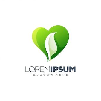 Любовь дизайн логотипа листьев