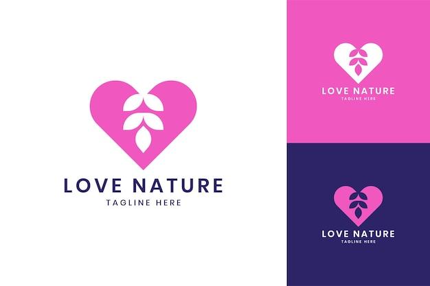 사랑 잎 부정적인 공간 로고 디자인