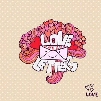 愛の手紙かわいいベクトルのバレンタインデーカード。手書きのフレーズと落書きの心。