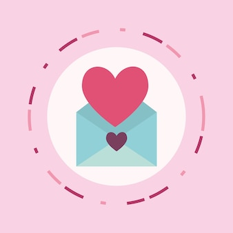 Love letter design with envelope and heart icon