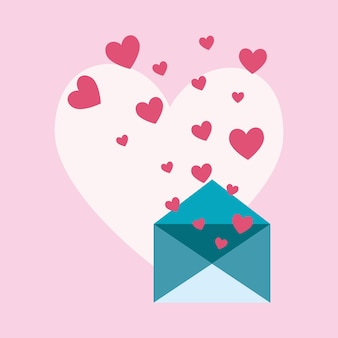 Love letter design with envelope and hearts icon