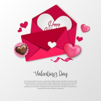 Конверт любовного письма для приветствия дня святого валентина со сладким шоколадом и украшением в форме сердца на белом фоне