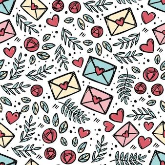 Love lettermail枝と葉のバラの花のスケッチ。手描き漫画のシームレスなパターン