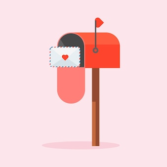Любовное письмо родственной душе или партнеру. украшенный конверт с сердечком. красный почтовый ящик с письмом внутри в мультяшном стиле. день святого валентина