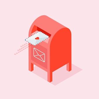 Любовное письмо родственной душе или партнеру. красный почтовый ящик с конвертом