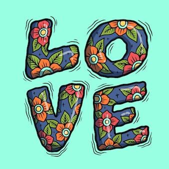 Love letter typography  illustration