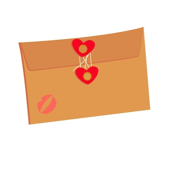 Love letter with hearts and kiss wrapping gifts for valentines day