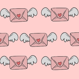 날개 패턴 배경 벡터 일러스트와 함께 연애 편지