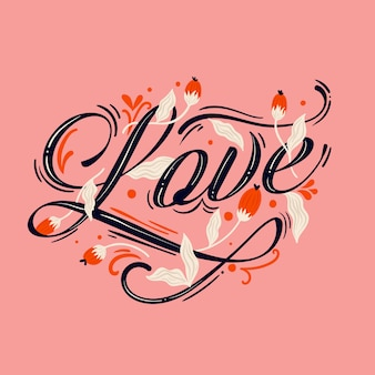 Love lettering background with plants