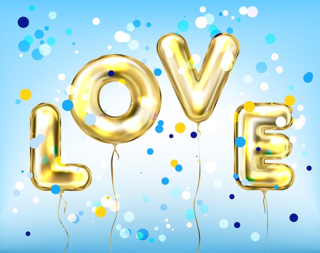 Love lettering by foil golden balloons in the sky