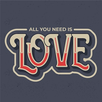 Love lettering in vintage style concept