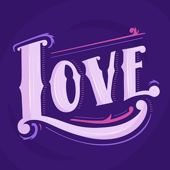 Amore scritte in stile vintage su sfondo viola