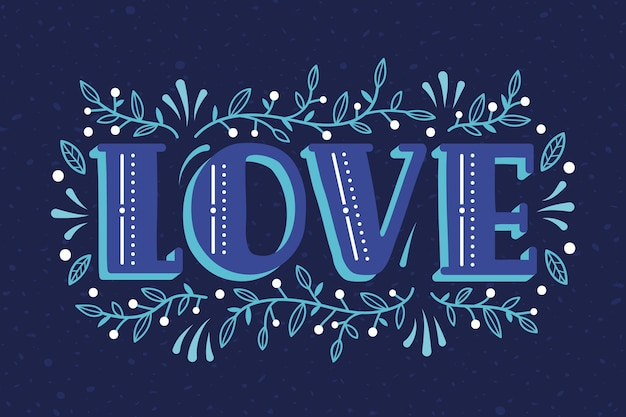 Love lettering in vintage style theme