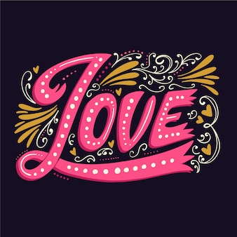 Love lettering in vintage style with different ornaments