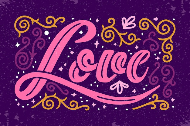 Love lettering in vintage style