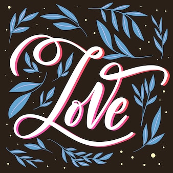 Love lettering with blue leaves
