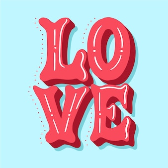 Love lettering with cute dotted shadow