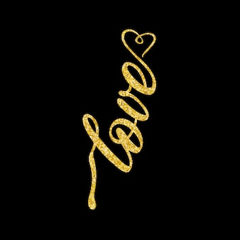 Love lettering with gold glitter isolated