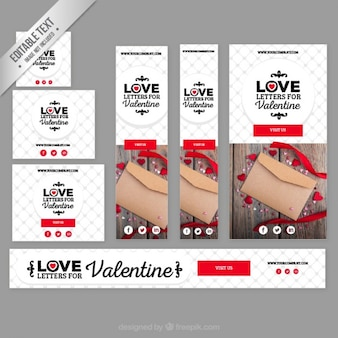 Love letters banners for valentine