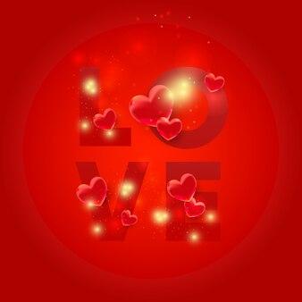 3d 마음으로 사랑 편지입니다. 밝은 반짝임으로 모양을 사랑하십시오. 발렌타인 데이 카드