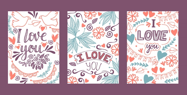 Love lettring   lovely calligraphy lovable sign sketch iloveyou on valentines day beloved card illustration backdrop set of love decor typography background