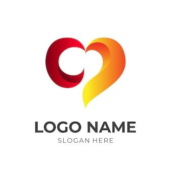 愛のロゴと火のデザインの組み合わせ、ホットアイコンテンプレート