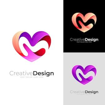 愛のロゴとmデザインの組み合わせ