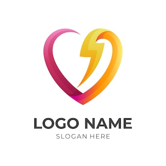 愛のロゴと雷のデザイン、シンプルなアイコン