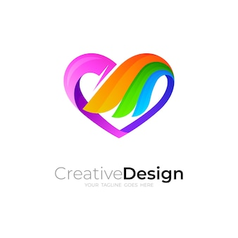 愛のロゴと翼のデザインの組み合わせ、3dカラフルなアイコン