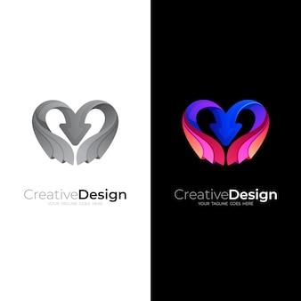Love logo and arrow design combination