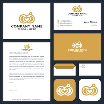 Love logo and business card premium