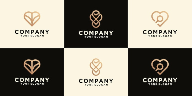 Love logo collection in line art style