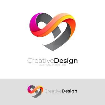 愛のロゴデザインベクトル、3dカラフル