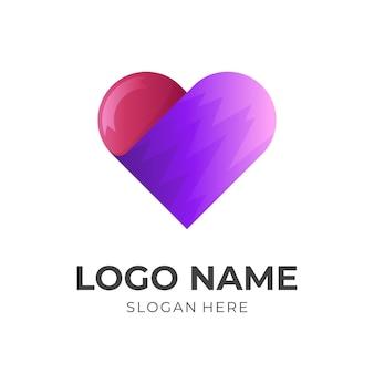Шаблон логотипа love с 3d-стилем синего и розового цвета