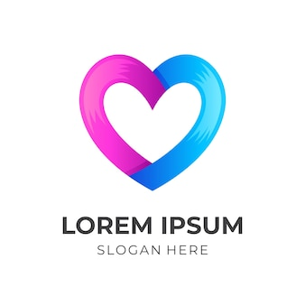 Love logo template with 3d blue and pink color style