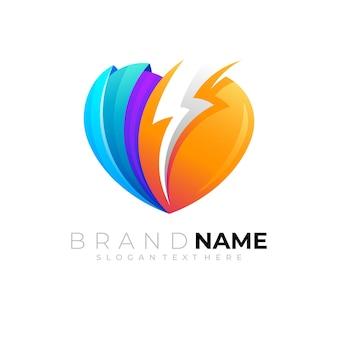 Love logo and thunder design image