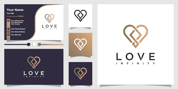 Love logo with cool modern infinity concept and business card design premium vector