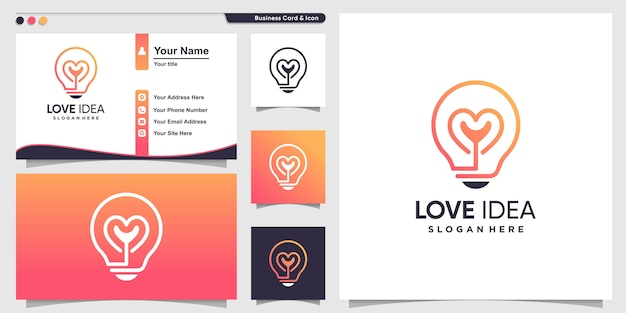 Love logo with creative idea line art style and business card design template, idea, smart