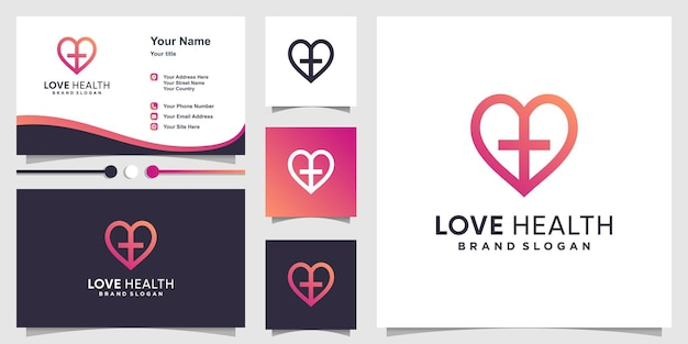 Love logo with health concept and business card premium vector Premium Vector