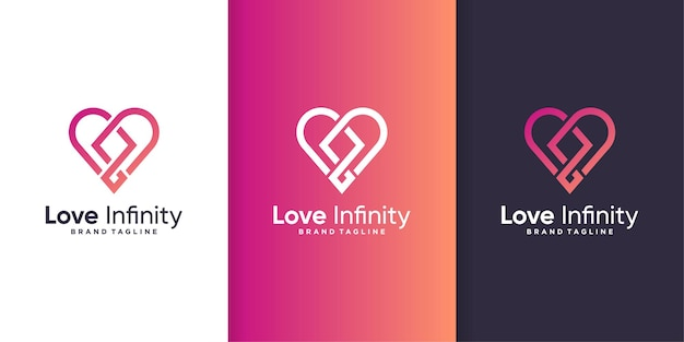 Love logo with infinity concept, abstract heart shape