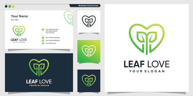 Логотип любви с листом внутри линии в стиле арт и шаблон дизайна визитной карточки premium векторы
