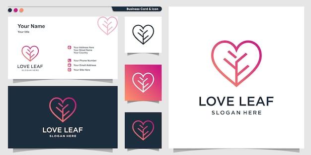 Логотип love с рисунком в виде листьев и дизайном визитной карточки premium векторы