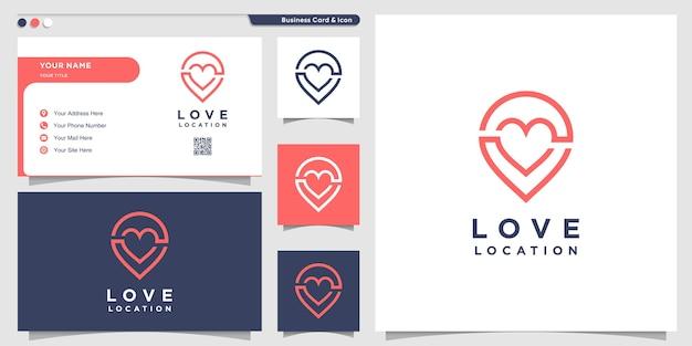 핀 라인 아트 스타일 및 명함 디자인 템플릿으로 사랑 로고