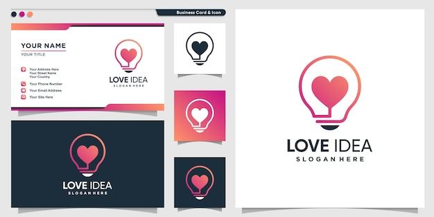 Логотип любви с умным творческим стилем и шаблоном дизайна визитной карточки, идея, умный