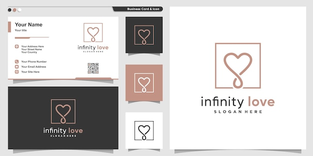 Love logo with smooth modern infinity line art style premium vector