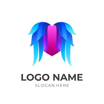 Love logo with wing design illustration, colorful style