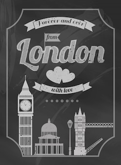 Love london chalkboard retro poster with big ben bridge